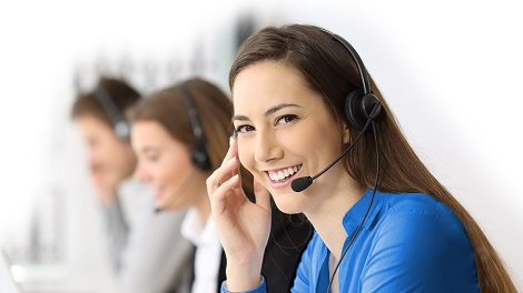 Woman with headphone as support consultant